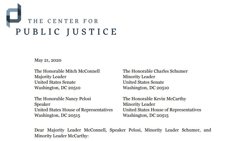 Coalition Letter on Supporting Houses of Worship and other Nonprofits